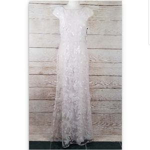 Vera Wang Nude Light Pink Sequin Floral Lace Dress